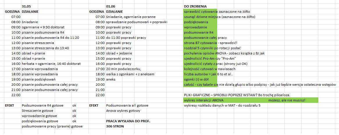 AnnaBakpisze Tabela pisania pracy naukowej doktoratu