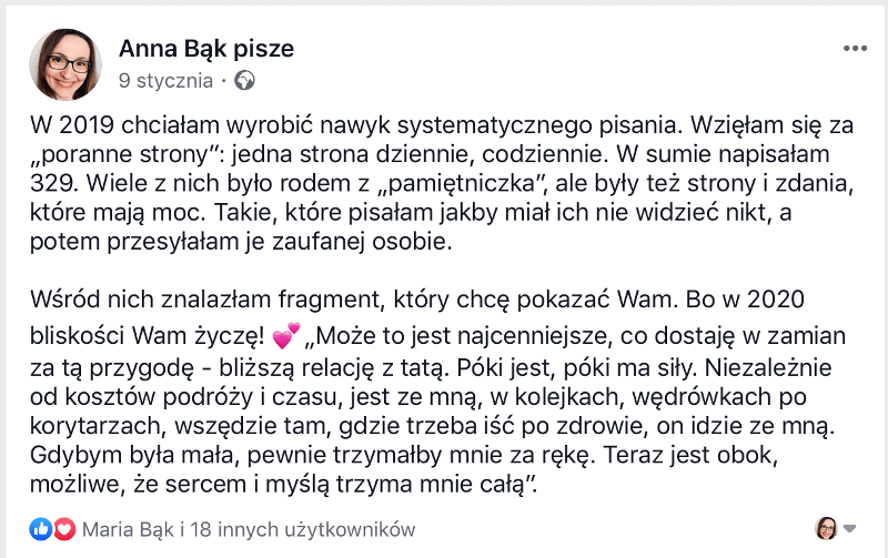 Poranne strony Anna Bak pisze facebook post